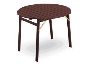 Tavolo P round, Mesa con estructura plegable, tapa redonda, en madera de haya