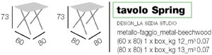 Tavolo Spring, Mesa plegable de metal, con tapa de madera
