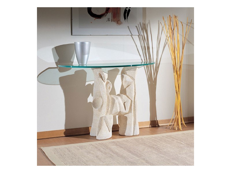 Magellano, Mesa con base de piedra para salas de estar, estilo moderno