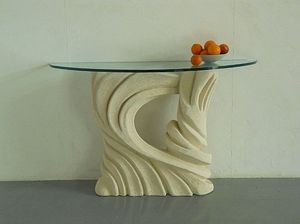 Santaclara, Mesa con base de tallado, tapa de cristal, para los restaurantes