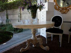 475 TAVOLO, Lineal mesa de comedor, madera, redondo, clásico