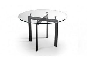 528, Mesa con tapa redonda de cristal