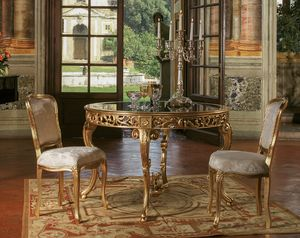 Art. 3067, Mesa de estilo clásico, con tapa de vidrio redonda