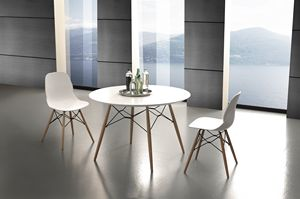 Art. 644 Shell Table, Mesa de cocina redonda con tapa laminada