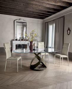 CAPRI, Mesa fija con estructura de metal. base pintada y marmol