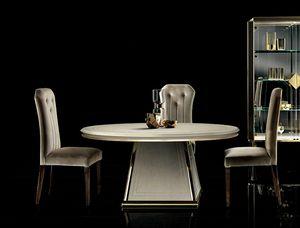 DIAMANTE Mesa redonda, Elegante mesa de comedor con tapa redonda