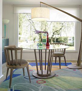 Eclipse mesa, Mesa contemporánea, con tapa redonda de vidrio