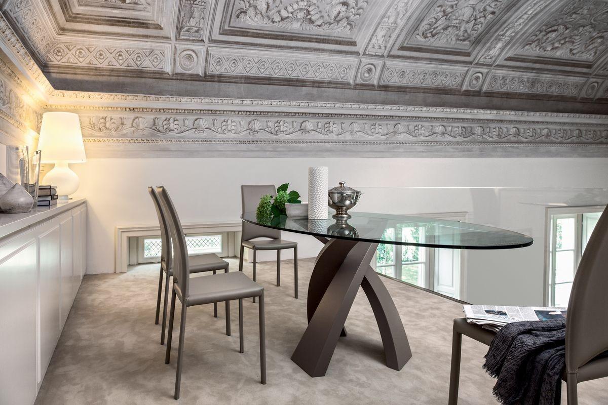 ELISEO, Mesa con tapa en madera, vidrio o cerámica.