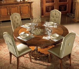 Esimia mesa, Mesa de comedor redonda, con tallas artesanales.