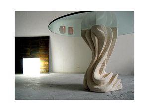 Essenza round, La tabla con columna de piedra, redondo o cuadrado