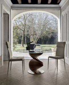 FIRENZE, Mesa fija con marco de madera maciza. y base en acero pulido.