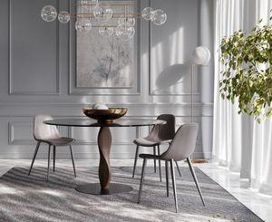 GENESIS, Elegante mesa redonda, con tapa de cristal