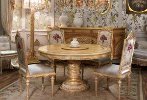 Lariana mesa redonda, Mesa de comedor redonda de estilo clásico