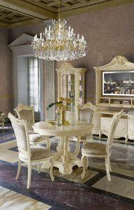 Madame Royale mesa redonda, Mesa de estilo clásico con tapa extensible