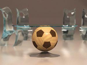 Mundial, Mesa de centro redonda con globo en forma de base de madera, tapa de cristal