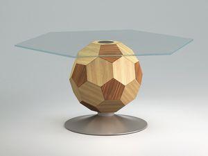 Mundial top, Tavolno a la habitación central, vidrio, marco de madera