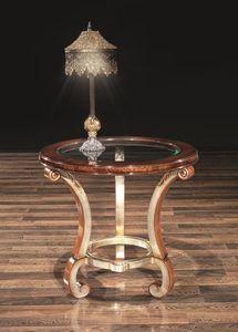 POISSY mesa 8681T, Mesa con tapa de cristal redonda, para sala de estar
