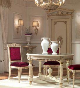 San Pietroburgo Art. TAV02/DIAM.122, Mesa de estilo clásico con sobre redondo de cristal