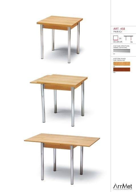 Parigi 70x70, Mesa cuadrada, extensible, para muebles de cocina