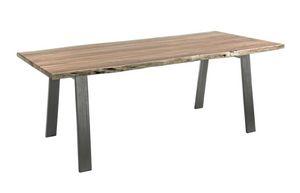 Mesa Aron 200X95, Mesa con sobre de madera con bordes irregulares