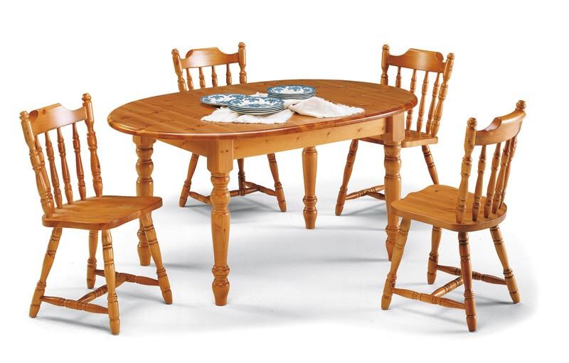 T/140 oval, Mesa oval rústico en madera de pino macizo, para salones