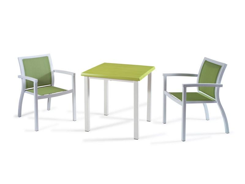 FT 038, Mesa de centro moderna para las barras, en aluminio cepillado