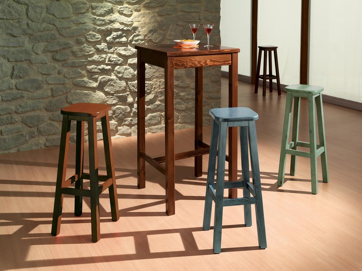 Mesa de barra cuadrada, Mesa alta hecha enteramente de pino, para barra rústica