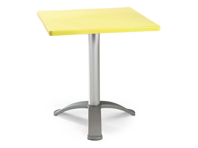 Table 60x60 cod. 20/BG3, Mesa cuadrada con base de aluminio anodizado