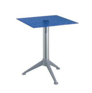 Table 60x60 cod. 20/BG3AV, Tabla con las barras de vidrio templado, columna de aluminio