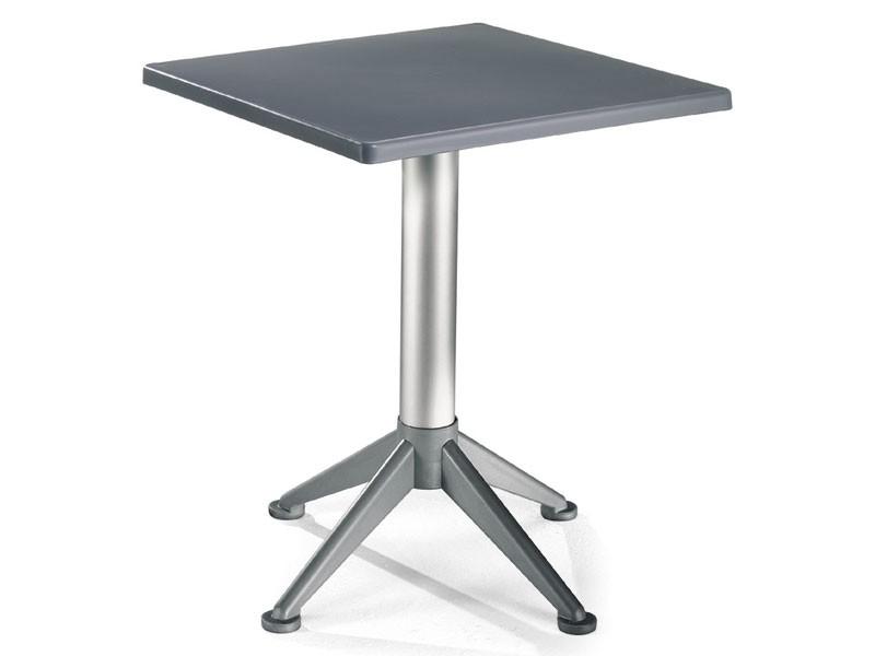 Table 60x60 cod. 20/BG4A, Mesa cuadrada con base de aluminio de 4 pies