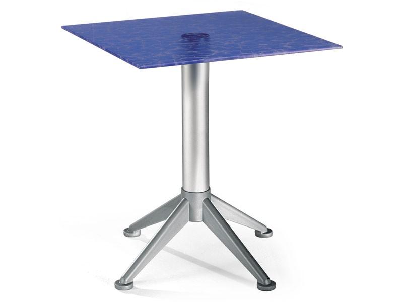 Table 60x60 cod. 20/BG4AV, Mesa de café de acero con tapa de cristal de color