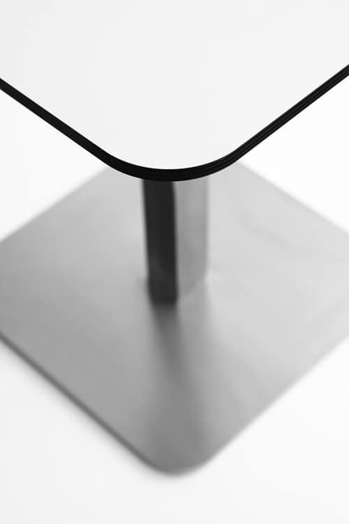 Voilà square h110, Mesa alta de bar de cócteles, superior en HPL estratificado, base de metal