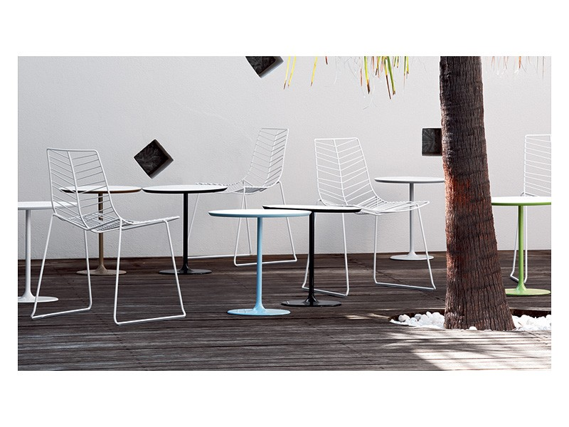 Dizzie 0681, Mesa de bar en acero, tapa blanca en varios tamaños