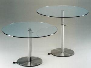 Ascendo, Mesa regulable en altura en acero inoxidable y vidrio
