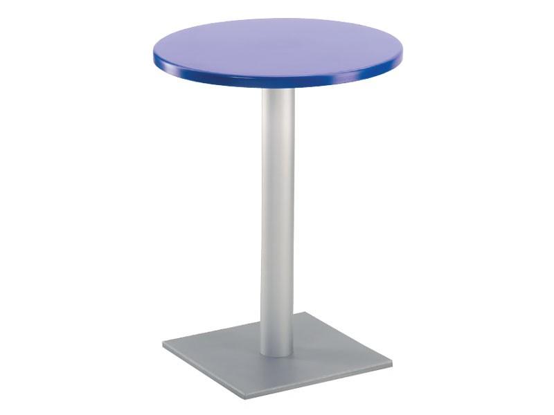 Table Ø 60 cod. 04/BQ, Mesa de bar con base cuadrada, la parte superior de polímero