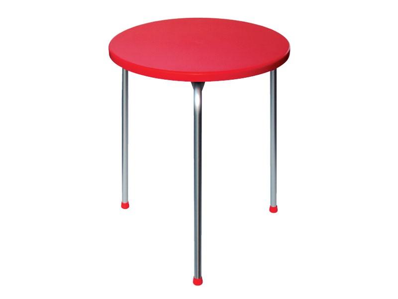Table Ø 60 cod. 04, Mesa apilable con tres patas de aluminio anodizado