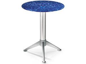 Table Ø 60 cod. 05/BG3A, Mesa de centro con vidrio de color templado