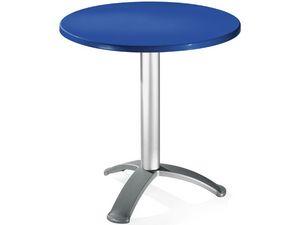 Table Ø 72 cod. 03/BG3, Mesa redonda con la columna de aluminio anodizado
