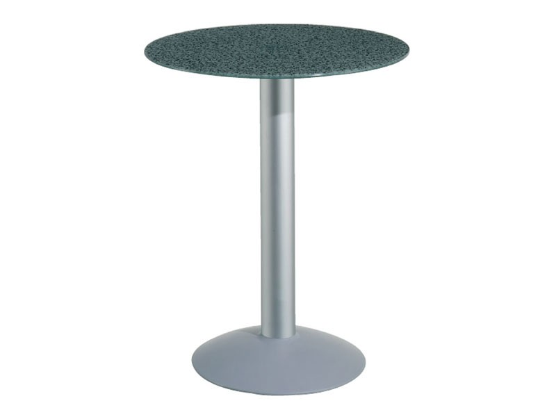 Table Ø 72 cod. 03/BTV, Mesa con tapa de cristal templado, columna de aluminio