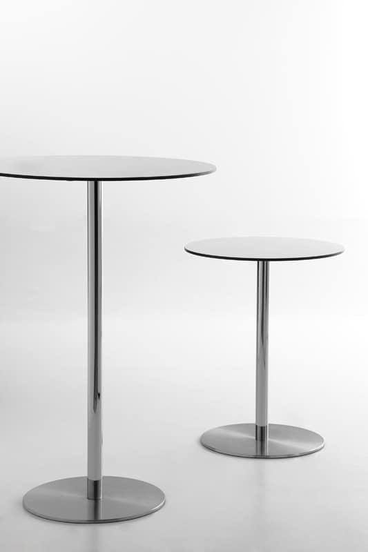 Voilà round h75, Mesa de bar, tapa redonda en laminado de alta presión, disponible en diferentes tamaños