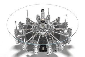 AIR-TAV0113, Mesita redonda con tapa de cristal