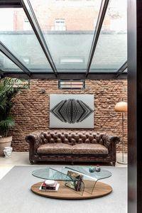 ARONA, Centro de mesa de centro sala con revistero, mesa de centro con tapa de cristal para salas de estar