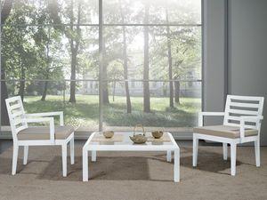Complementos Pequeña Mesa Cristal 01, Mesa de centro con base de madera y tapa de cristal