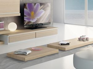 Complementos Pequeña Mesa Madera 03, Bajo la mesa de centro de madera para sala de estar moderna