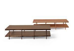 Farnsworth B, Diseño esencial pequeña mesa, en vidrio y madera