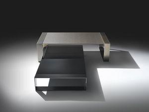 Ring low table, Mesa de café lineal en acero y vidrio, para sala de estar
