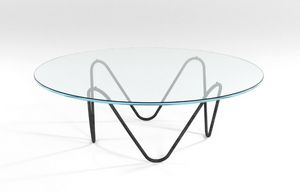 Suono, Mesa de centro con estructura metálica y tapa de cristal