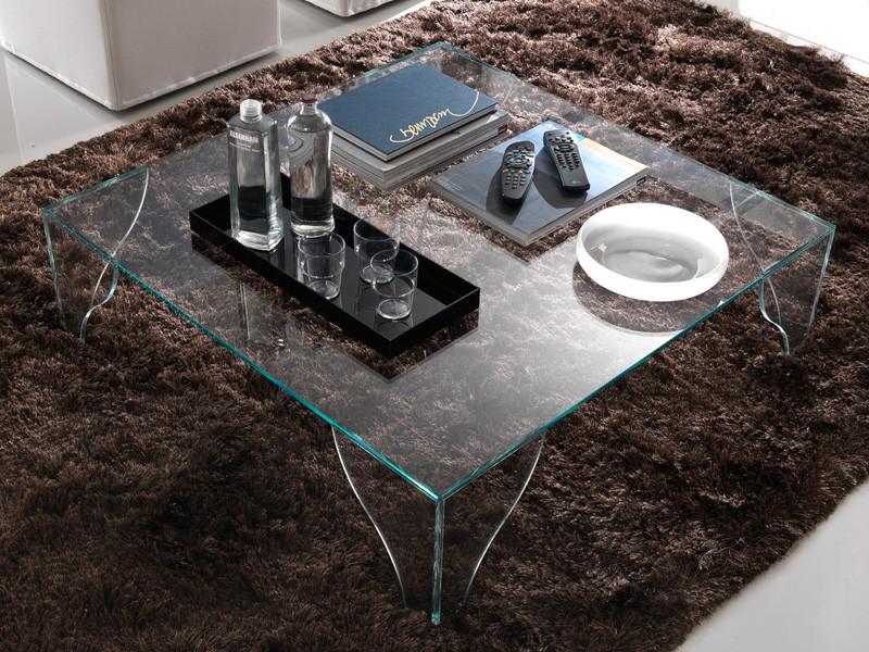 T16 sipario, Mesa de centro cuadrada hecha de cristal