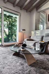 TUDOR, Mesa de centro de mármol y vidrio, para la sala de espera y la oficina