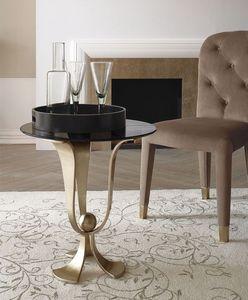 Calice pequeña mesa, Mesa de café en hierro curvado,, tapa de cristal pulido a mano